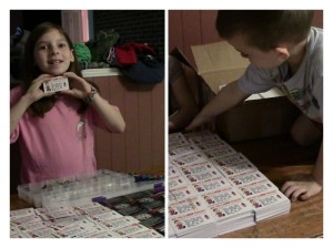 My children helping separate gospel tracts for an upcoming outreach